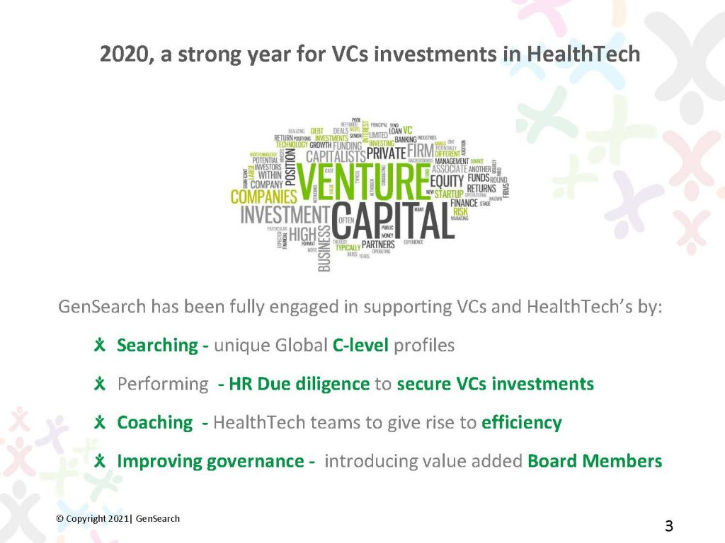 2020, a strong year for VCs investments in HealthTech GenSearch has been fully engaged in supporting VCs and HealthTech's by: Searching - unique Global C-level profiles Performing - HR Due diligence to secure VCs investments 2020, a strong year for VCs investments in HealthTech  Coaching - HealthTech teams to give rise to efficiency Improving governance -introducing value added Board Members