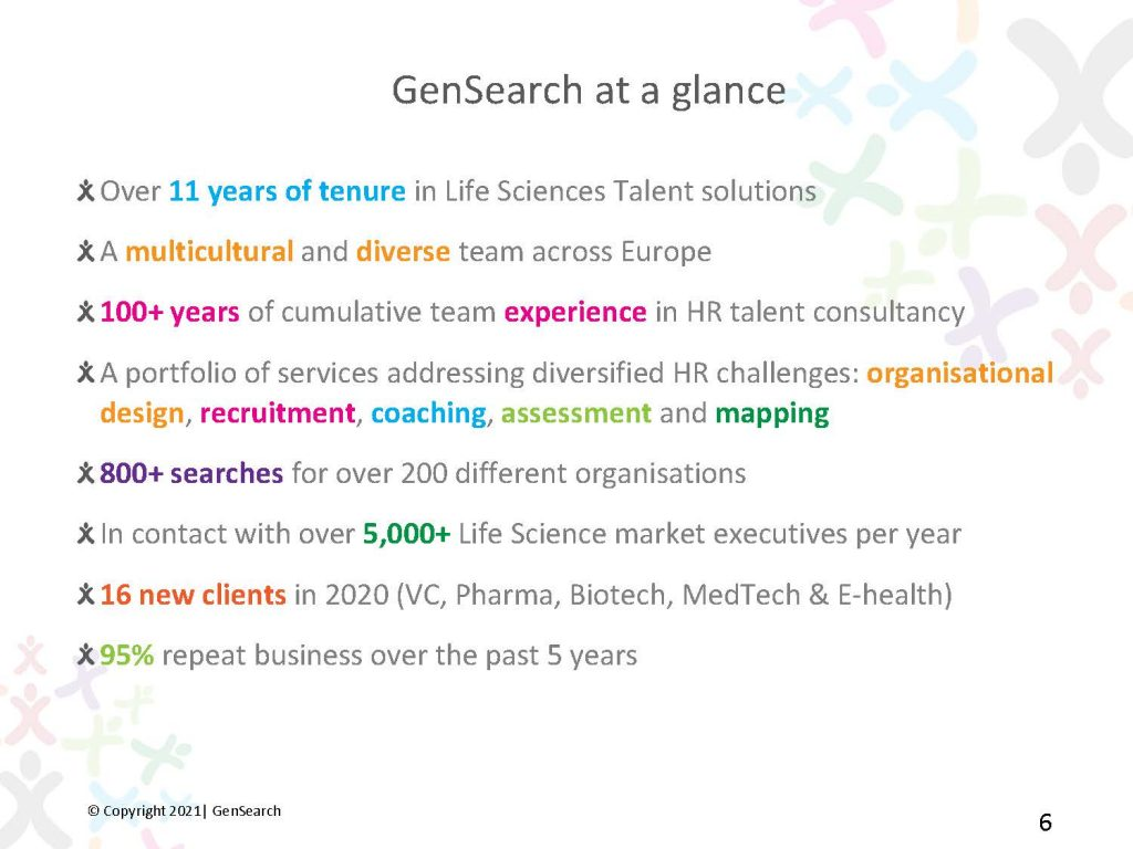GenSearch at a glance - Over 11 years of tenure in Life Sciences Talent solutions  - A multicultural and diverse team across Europe - 100+ years of cumulative team experience in HR talent consultancy - A portfolio of services addressing diversified HR challenges: organisational design, recruitment, coaching, assessment and mapping - 800+ searches for over 200 different organisations - In contact with over 5,000+ Life Science market executives per year - 16 new clients in 2020(VC, Pharma, Biotech, MedTech & E-health) - 95% repeat business over the past 5 years